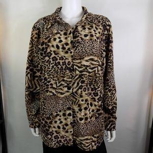 Susan Graver Leopard Animal Print Top Blouse Plus